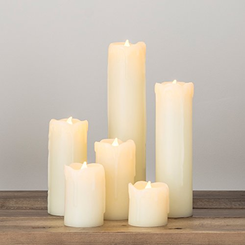 Lights4fun - Conjunto 6 Velas sin Llama LED Columna