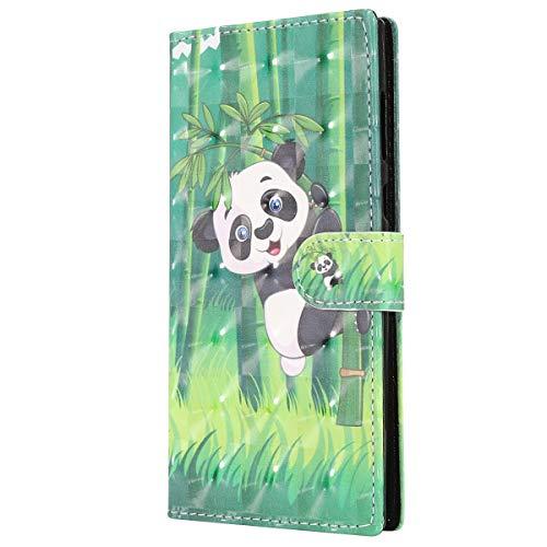 Kompatibel mit Sony Xperia L1 Lederhülle Glitzer 3D Glänzend Bunt Muster Hülle Leder Tasche Bookstyle Brieftasche Schutzhülle Flip Case Cover Handytasche,Panda