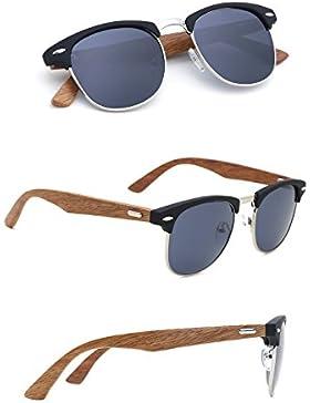 Tijn - Occhiali da sole da uomo in legno di bambù, con semi-montatura