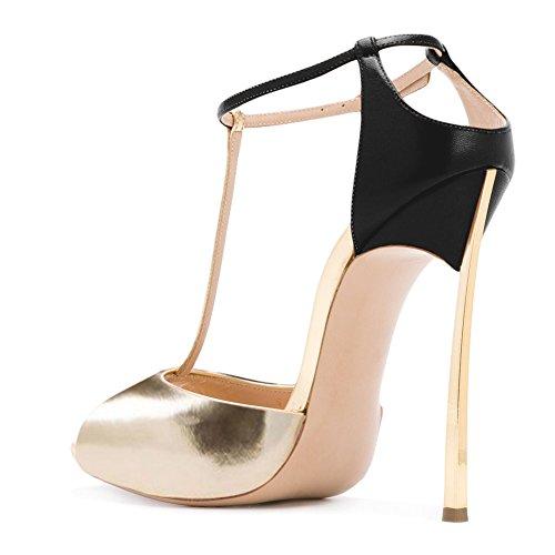 Damen Sandalen Peep Toe High-Heels Stiletto T-Spange Knöchelriemchen Hochzeit Gold Schwarz