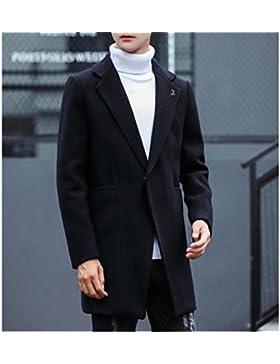 DZYZ Uomo Avvolgere Trench Coat Inverno Slim Long Sezioni Giacca di lana , black , 3xl