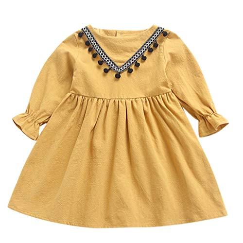 XINAINI Baby MäDchen Kleid Babykleider Kurzarm Festes Kleid Kleidung Weihnachtskleid Elegant Party Kleid Prinzessin Kleid 3D Drucken Tops Rock WeihnachtskostüM Mini Kleid(120/3-4 Jahre Alt,Gelb)