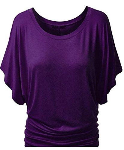 Ghope Damen Sommer T-Shirt Falten Fledermaus Batwing Shrit Tunika Top Bluse Rundhals Ausschnitt 17 Farbe Dunkel Lila