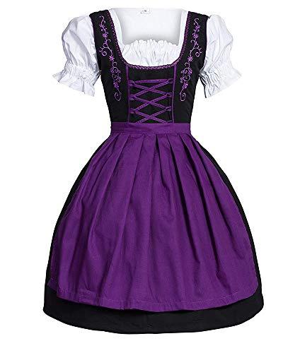 Mädchen Dirndl Kostüm - Gpptvvf Oktoberfest Damen Maid Kostüm Bayerisch Bier MäDchen Kleid Dirndl Bluse Kurzarm Midi Trachtenkleid