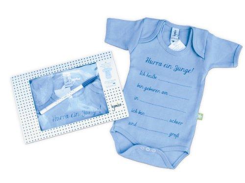 kjomizo - Willkommensbody blauer Babybody zum selber Beschreiben (Stift inklusive, blau) individualisierbar mit Namen Größe und Gewicht zum verschenken