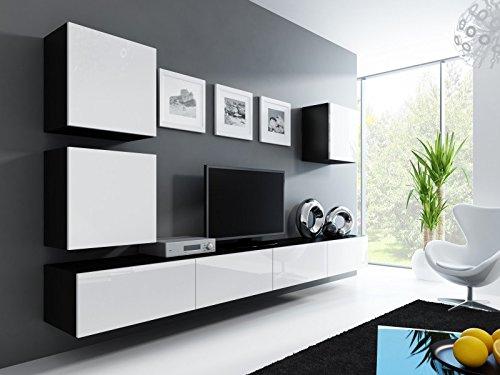 Wohnwand modern weiss Hochglanz - Vigo 22 schwarz matt / weiß Hochglanz