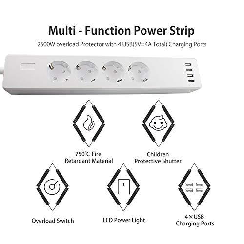 0 ℃ Outdoor Smart Power Strip Fernbedienung Smart WiFi Multi-Steckdose mit Überspannungsschutz mit 4 AC-Ausgängen und 4 USB-Ports kompatibel mit Alexa, Google Home und IFTTT
