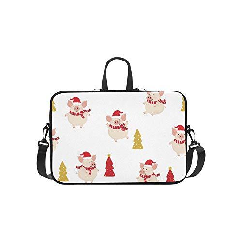 Cute Pig Red Winter Kostüm Weihnachten Muster Aktentasche Laptoptasche Messenger Schulter Arbeitstasche Crossbody Handtasche Für Geschäftsreisen (Teen Pig Kostüm)