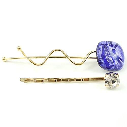 rougecaramel - Accessoires cheveux - Mini pince fantaisie métal doré lot de 2pcs - violet