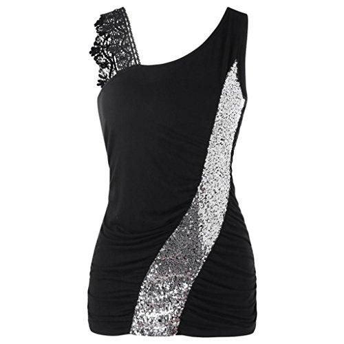 p, Damen Fashion Lace Glitzernde Skew Kragen Pailletten Sommer Sleeveless Off-Shoulder-Weste Tops (XL, Schwarz) (Schwarz & Rot Pailletten Bustier Kostüme)