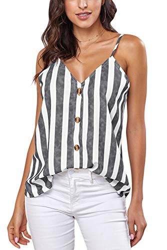 Ancapelion Damen Sommer Bluse Ärmellose Chiffon Tank Top V-Ausschnitt Shirt Elegant Weste Hemdbluse Loose fit T Shirt mit Trägern (Grau-Streifen, L(EU 42-44)) - Sexy Tops Blusen