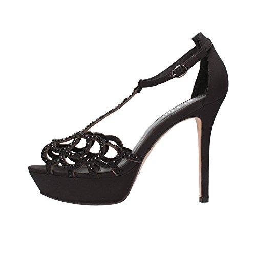 BIBI LOU sandali donna nero / beige raso strass (40 EU, Nero)