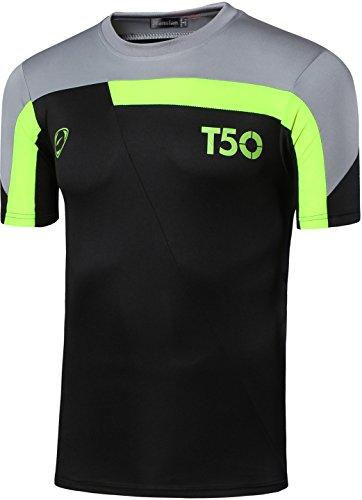 Jeansian Uomo Asciugatura Rapida Sportivo Casuale Slim Sports Fashion Tee T-Shirts Camicie LSL1059 LSL135_Black