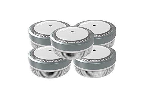 Jeising Mini Rauchmelder 5er Set RWM100-Grau 10 Jahre Lithium Batterie - VDs geprüft