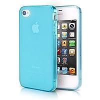 doupi PerfectFit Schutzhülle mit Staubstöpseln für iPhone 4 4S Staubschutz eingebaut Matt Clear Design TPU Schutz Hülle Silikon Schale Bumper Case Schutzhülle Cover, blau