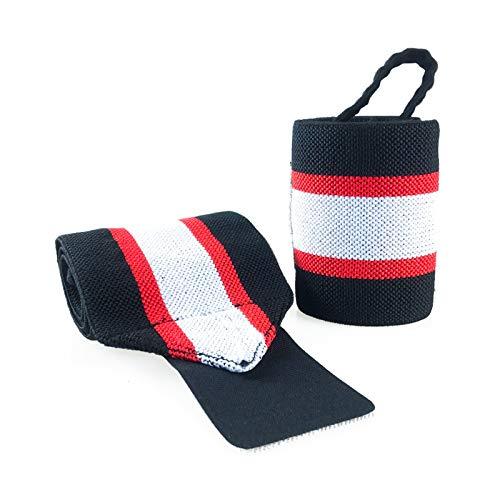 AnazoZ Handgelenkstütze Verstellbare Handbandage Sport Handgelenkschoner Wrist Wrap für Alltag Fitness und Kraftsport - Schwarz Rot