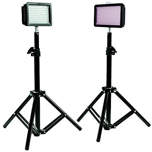 Julius Studio 160LED Camera Light Kit, including (2)Ultra High Power 160 LED Video Light Panel Digital Camera DSLR Camcorder LED Video Light (2)28 Inch Tall Photography Mini Light Stand JGG2287