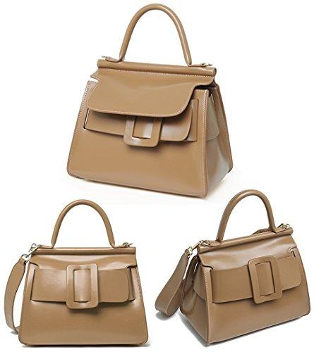 Xinmaoyuan Damen Lederhandtaschen Gürtelschnalle dekoriert Handtasche Farbe Mode Sport Querschnitt Square Shoulder Bag, Grau Hellbraun