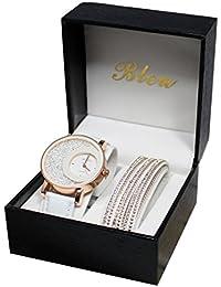 bd39a1c30a0 coffret montre femme cuir blanc strass cristal + bracelet double tour  stardust dolce vita. B01N5BKZBH