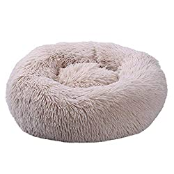 Round Pet bed, Calming Bed Plush Nest Warm Soft Cushion Donut Cuddler Cat Dog Puppy Comfortable for Sleeping Winter (60cm, Beige)