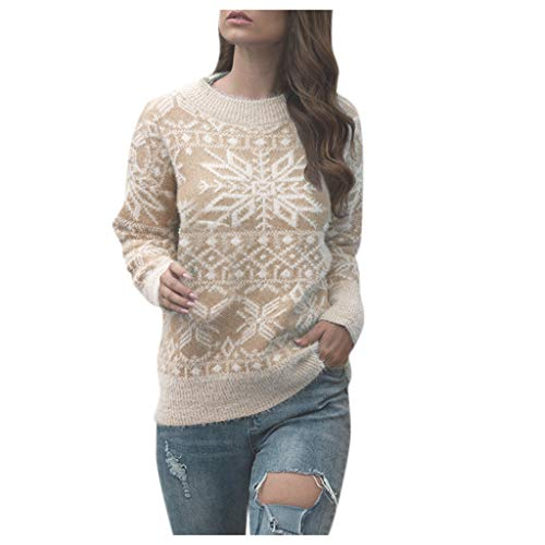 Femme Pulls pour Noël, Bluestercool Casual Col Rond Manches Longues Chandail Hauts à Tricoter Tops Pull-Overs
