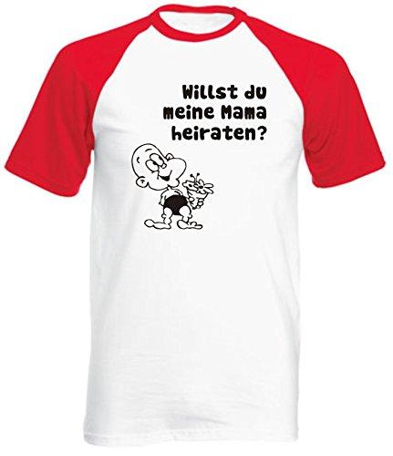 Kinder Baseball T-Shirt (Farbe weiss/rot) (Größe 152) Willst du meine Mama heiraten / COOK