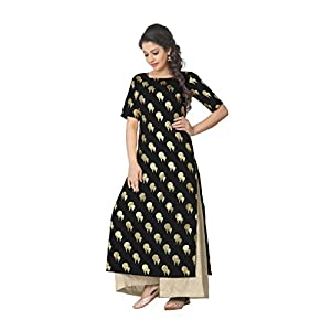 ZIYAA Women's Straight Faux Crepe Kurta Best Online Shopping Store