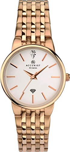 Accurist Ladies Analogue Diamond Watch With Rose Gold Bracelet 8197