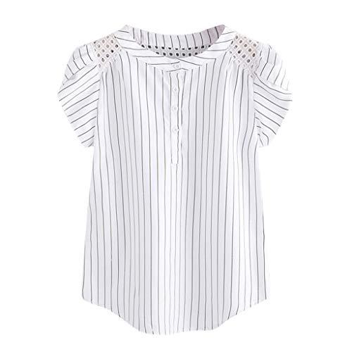 Damen T-Shirt Freizeit Top Mode gestreifte aushöhlen T-Shirt Kurze Schmetterlings-Hülsen-Hemden Weste-Oberseite Sommerweste Oben -