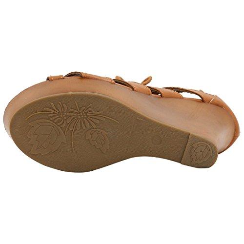 Allegra K Femme à lacet Découpe Sandales Compensées Orteil Ouvert Brown-1