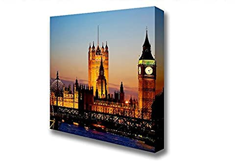 Square The Glow Of Houses Of Parliament Night Lights Canvas Art Prints - Extra Large 40 x 40 inches