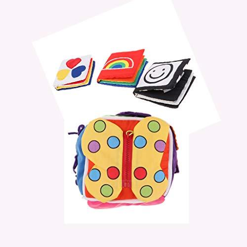 Homyl Juguete Montessori Rompecabezas de Cubo de Botón Zip Hebilla a Presión Lazo Cordón con Libro de Tela Blando Juego Cognitivo para Niños