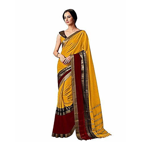 Indira Designer Women's Yellow Color Cotton Silk Plain Saree With Blouse