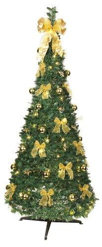 Best Season 603-91 - Árbol de navidad decorado con luces led (tamaño aproximado: 190 x 80 cm, 80 ledes con 8 funciones, decoración dorada)