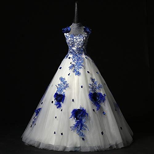QAQBDBCKL Weiß Mit Blauen Blume Strass Sicke Mittelalterlichen Kleid Renaissance-Kleid Königin/Prinzessin Viktorianischen Belle Ballkleid (Und Blauen Weißen Belle Kleid)
