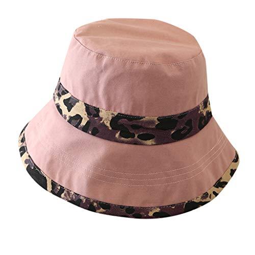 Junjie Damen Mädchen Mütze Haube Casual Leopard Breiter Krempe Floppy Faltbarer Sommer Sun Beach Hut Schwarz, Beige, Pink, Khaki - Dorfman Pacific Leder Hut