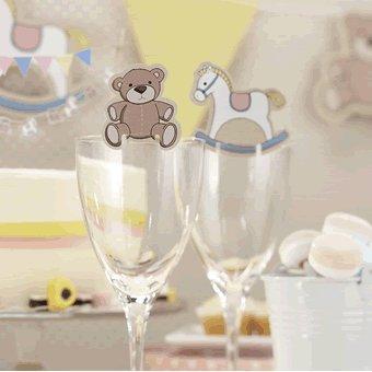 Schaukelpferd & Teddy Glasdeko x 10 - für Baby shower/Geschenkparty oder Kindergeburtstag - Rock a Bye Baby