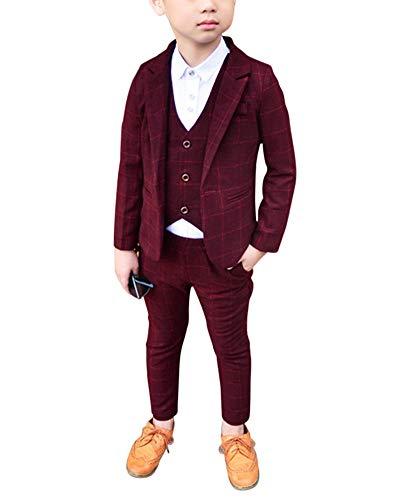 Jungen Anzüge Kinder Schlanke Passform Klassisches Kariertes Anzug-Set Mit Jacke Weste Und Hosen Violett Rot 110