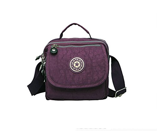 Resistente all acqua con leggero nylon Mini Croce Corpo maniglia superiore borsa 7131 Hot pink animal print Violet