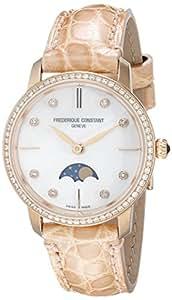 Frederique Constant Women's FC206MPWD1SD9 Slim Line Analog Display Swiss Quartz Beige Watch