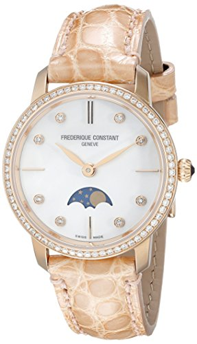 Frederique Constant Women's Slimline Moonphase 30mm Alligator Leather Band Quartz Watch FC-206MPWD1SD9