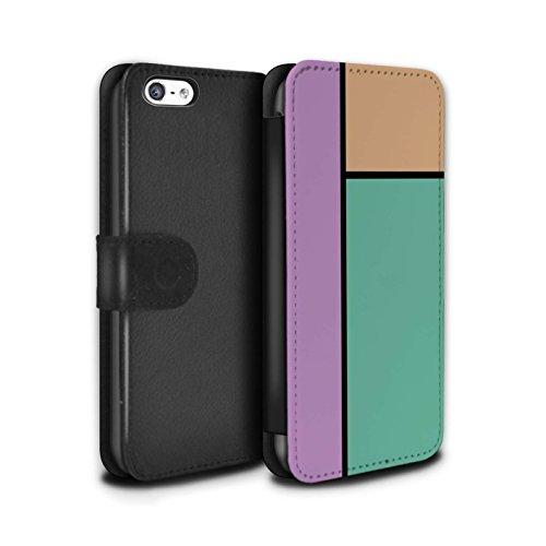 Stuff4 Coque/Etui/Housse Cuir PU Case/Cover pour Apple iPhone 5C / Pack 14pcs Design / Carreaux Pastel Collection 3 Carreaux/Turquoise