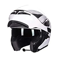 KYLL Motorcycle Helmets Bluetooth Flip Up Touring Helmets Built-in Speaker Bluetooth Headset with Microphone for Automatic Answering (Color : C, Size : L)