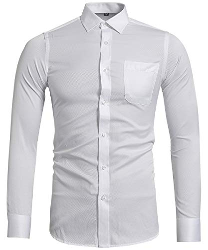INFLATION Herren Hemd Slim Fit Langarm Business Anzughemd Freizeithemd M Weiß Herrenhemd