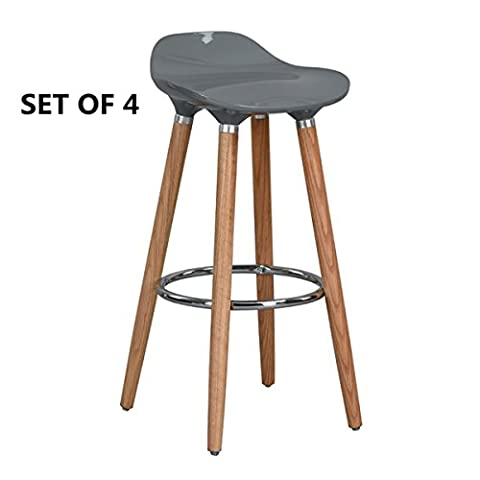 FurnitureR Set of 4 Bar Chair Modern Style Bar Stools Counter Chair Kitchen Breakfast Barstool with Wooden Legs Grey
