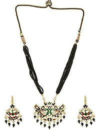 Dudi's Black Beads Mala In Meenakari Work Pendant With Pair Of Earrings(Peacock Traditional Style)