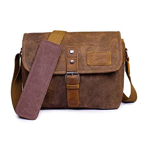 Vianber SLR-Kameratasche, wasserdichte Wachs-Segeltuchtasche Vintage Kameratasche Messenger Bag mit Interlayer Pad (Khaki)