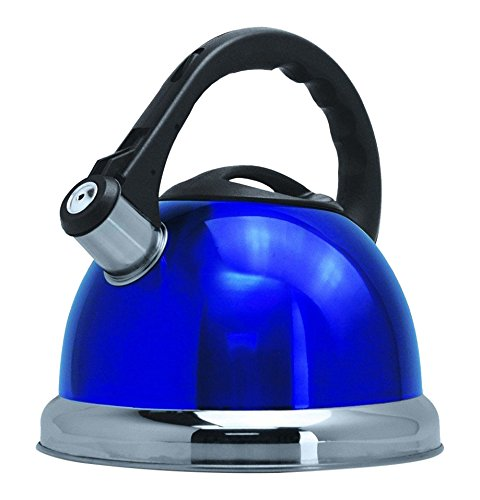 Royal Cook RC-10318 Stainless Steel Whistling Kettle with Capsulated Bottom, 3 quart, Royal Blue