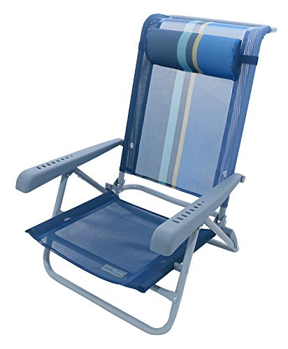 Meerweh Strandstuhl mit Verstellbarer Rückenlehne und Kopfpolster Klappstuhl Anglerstuhl Campingstuhl Marine/blau