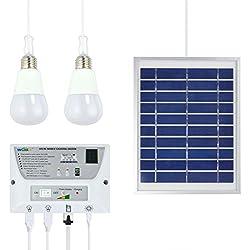 Starcrafter Sistema de iluminación móvil solar portátil Celular Inicio de Emergencias Pack de energía para interiores y exteriores - con 1 * 1W E27 Bombilla LED + 1 * 2W E27 Bombilla LED e incluye batería de 3.7V 5000mAh Rechargable